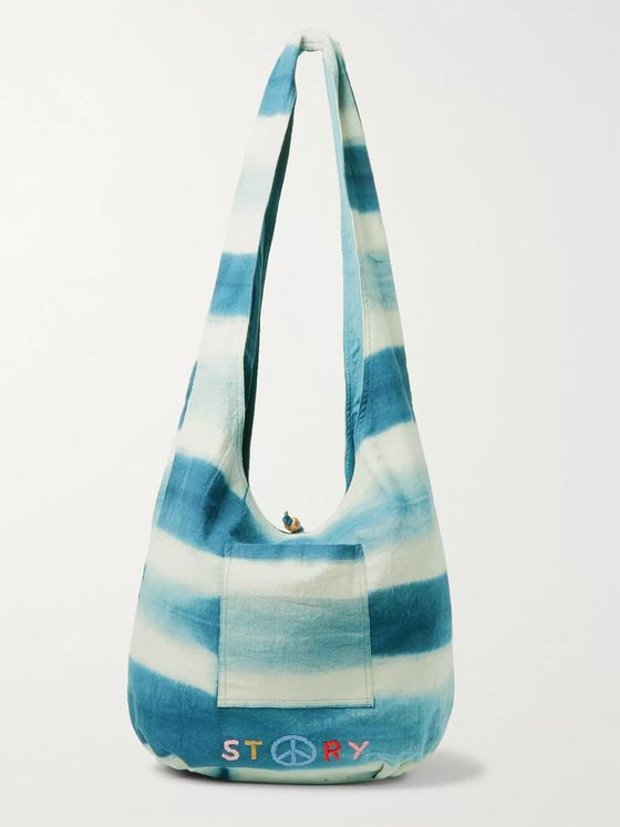 Story Mfg. Logo-Embroidered Striped Organic Cotton-Canvas Tote