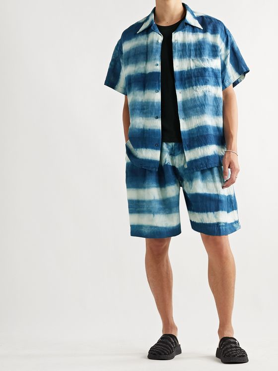 Story Mfg. Bridge Wide-Leg Tie-Dyed Organic Linen and Cotton-Blend Drawstring Shorts
