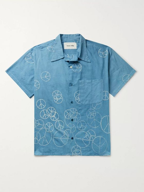 Story Mfg. Shore Printed Organic Cotton-Voile Shirt