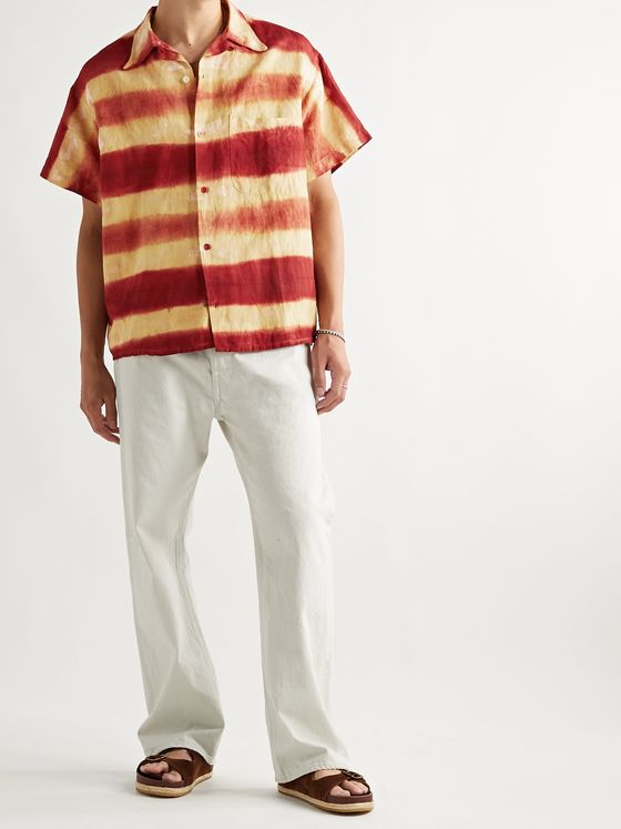 Story Mfg. Shore Tie-Dyed Organic Linen and Cotton-Blend Shirt