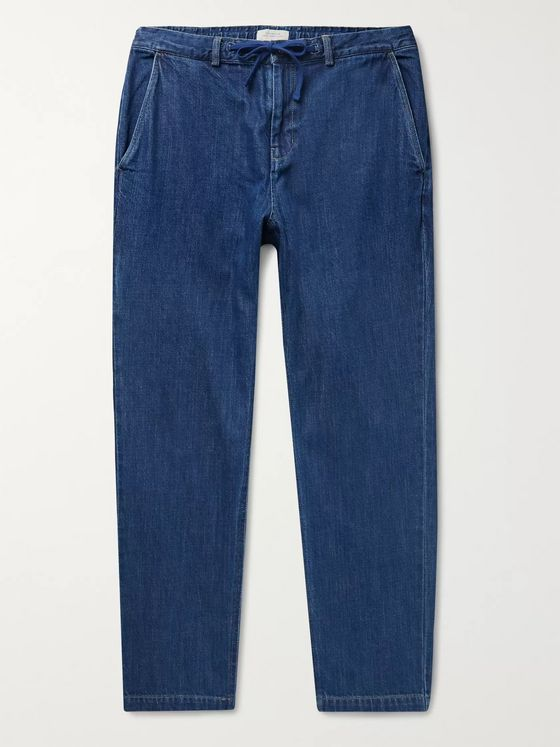 Saturdays NYC Shaw Tapered Indigo-Dyed Denim Drawstring Trousers