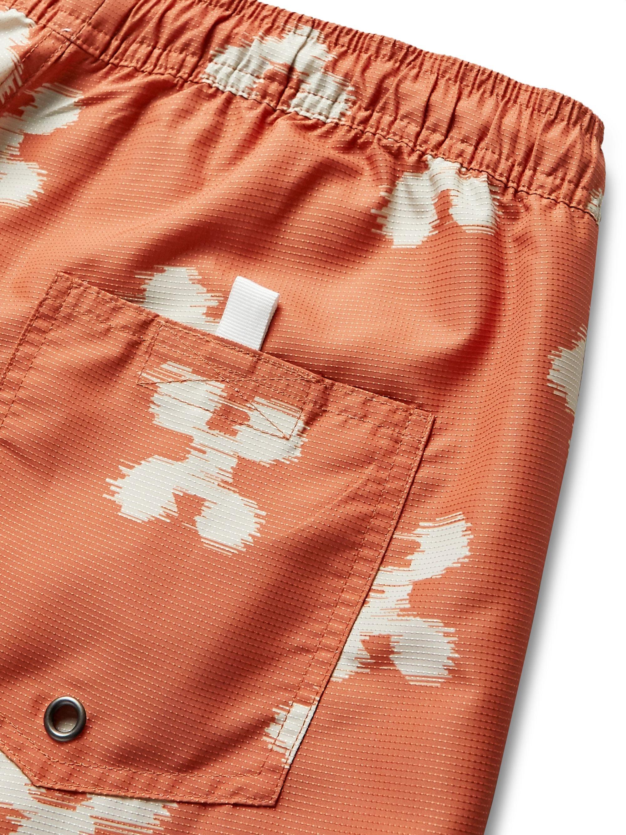 Orange Timothy Mid-length Printed Ripstop Swim Shorts   Saturdays Nyc