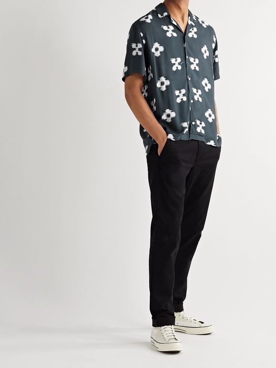 Saturdays NYC Canty Camp-Collar Printed Voile Shirt