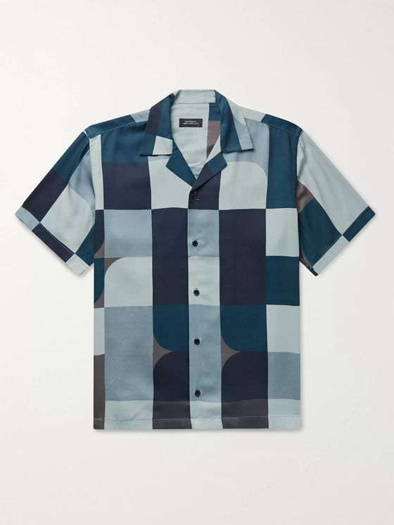 Saturdays NYC Canty Camp-Collar Colour-Block Lyocell-Twill Shirt