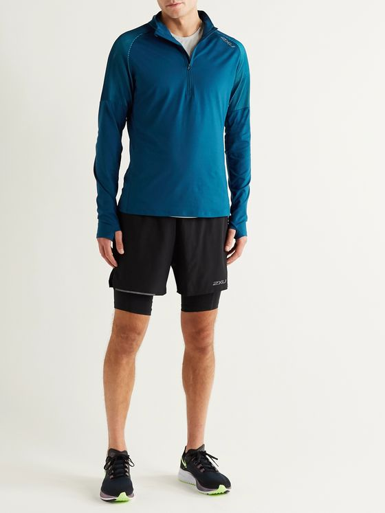 2XU GHST Mesh-Panelled Half-Zip Top