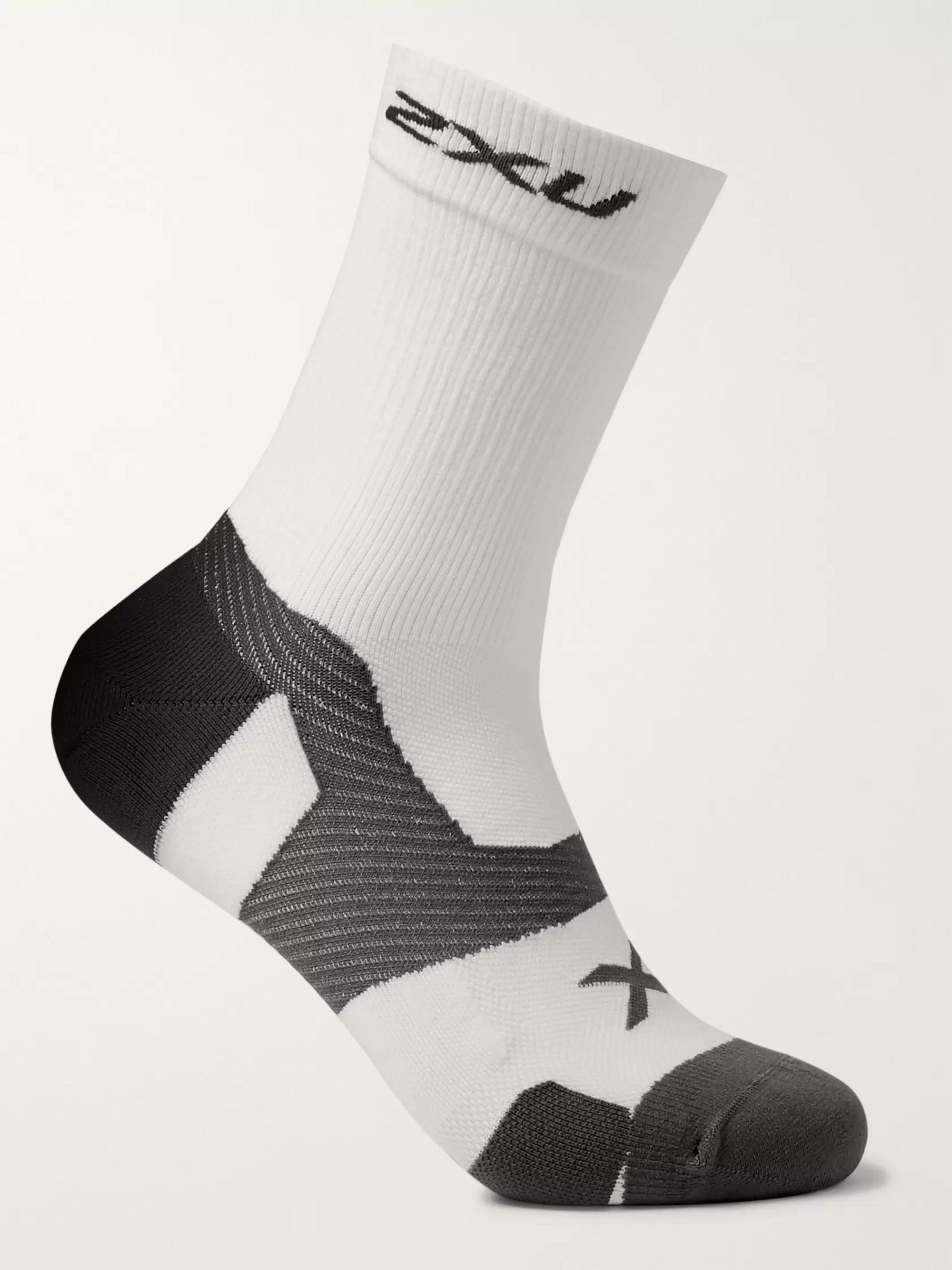 White Vectr Cushioned Stretch-knit Crew Socks | 2xu