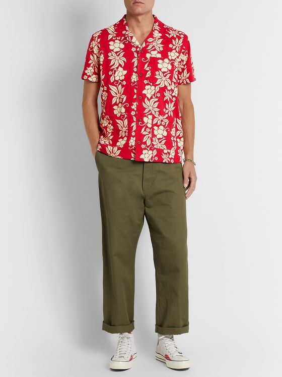 RRL Camp-Collar Floral-Print Cotton-Jersey Shirt