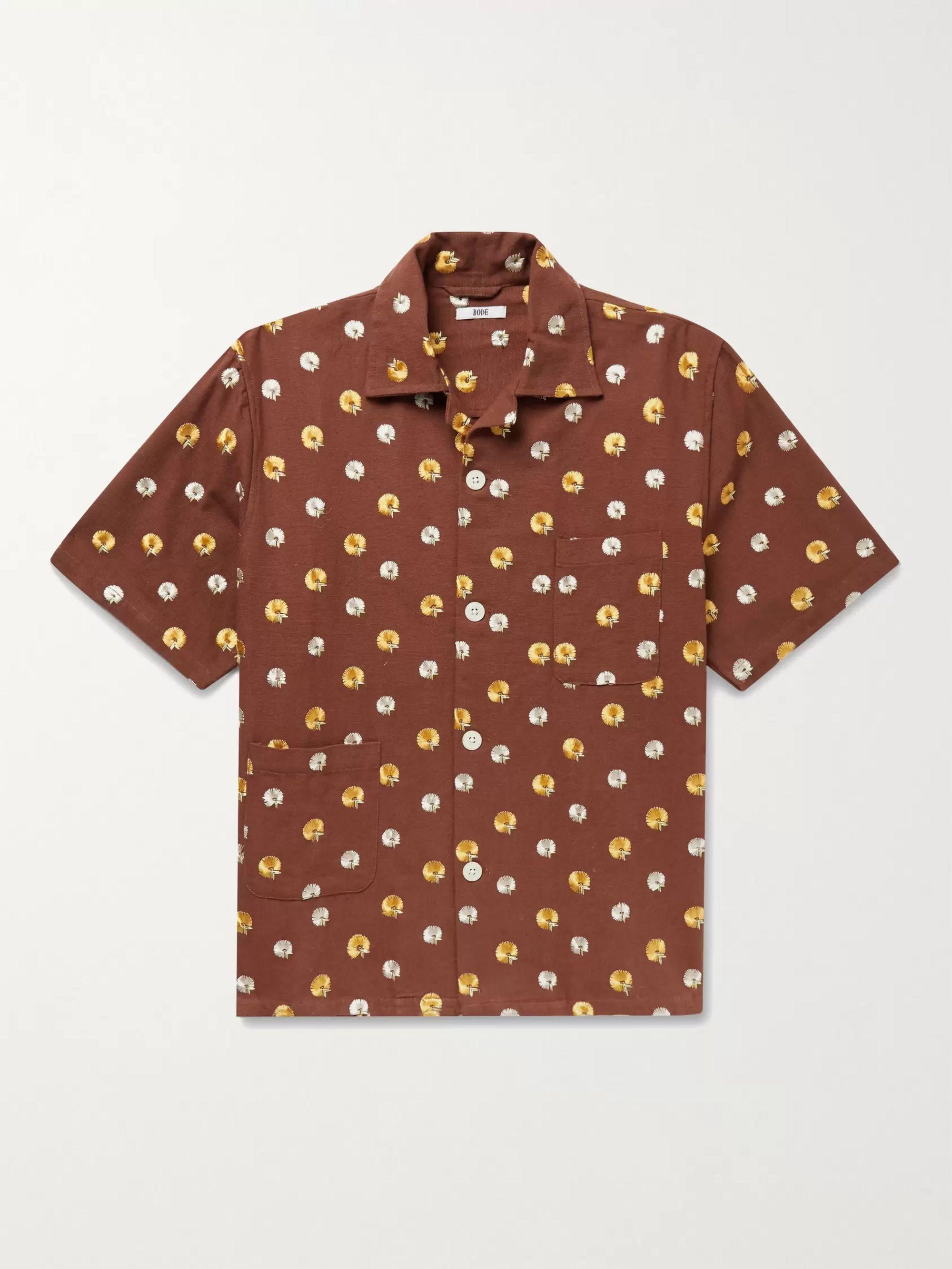 BODE Camp-Collar Embroidered Cotton Shirt,Burgundy