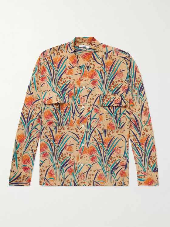 BODE Housatonic Havana Camp-Collar Printed Silk-Crepe Shirt