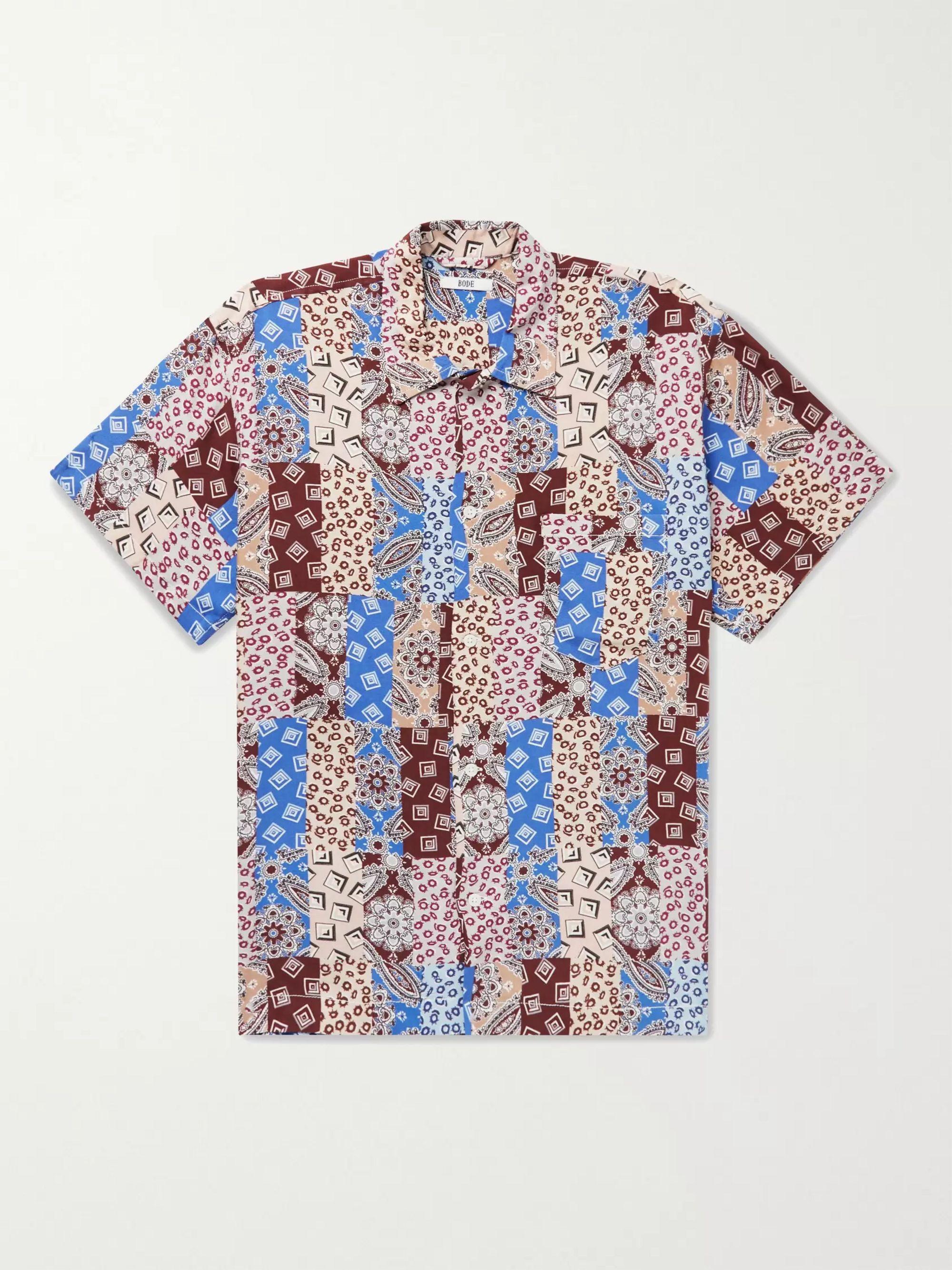BODE Eastern Paisley Camp-Collar Printed Woven Shirt,Burgundy