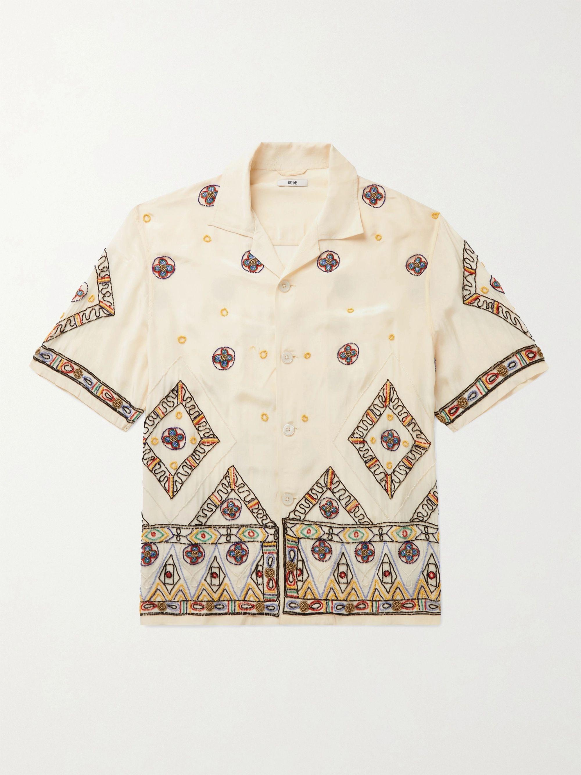 BODE Camp-Collar Beaded Voile Shirt,Cream