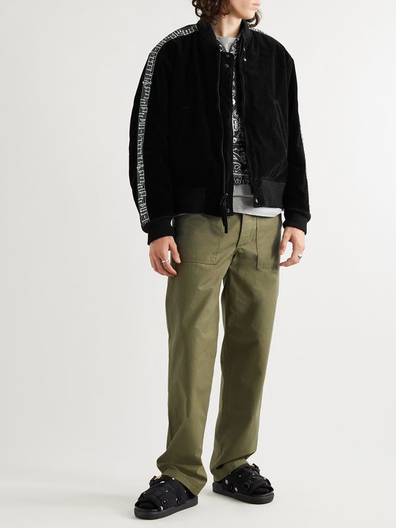 Engineered Garments Oversized Webbing-Trimmed Velvet Bomber Jacket