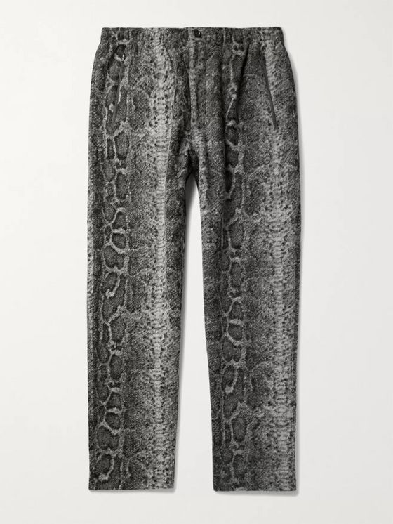 Engineered Garments Tapered Snake-Print Textured-Knit Trousers
