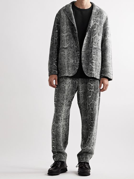 Engineered Garments Snake-Print Textured-Knit Blazer