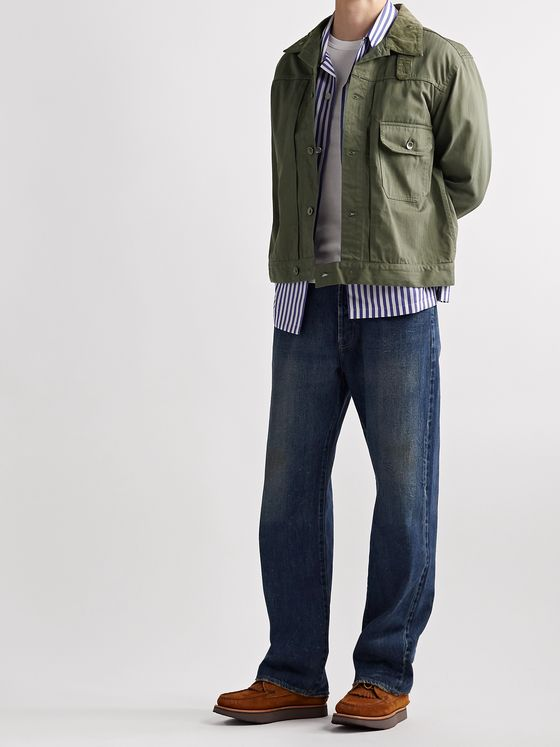 Engineered Garments Camp-Collar Corduroy-Trimmed Herringbone Cotton-Twill Trucker Jacket