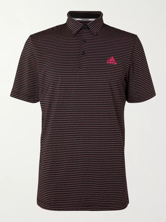 Adidas Golf Ultimate365 Space-Dyed Striped Stretch-Jersey Golf Polo Shirt