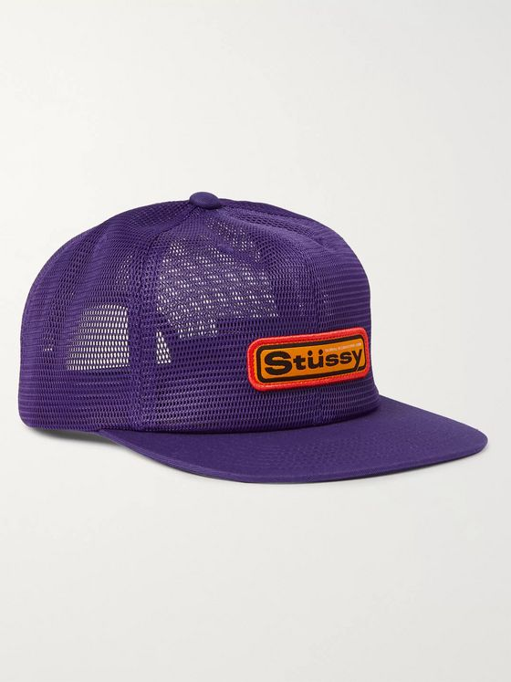 Stüssy Logo-Appliquéd Mesh and Twill Baseball Cap