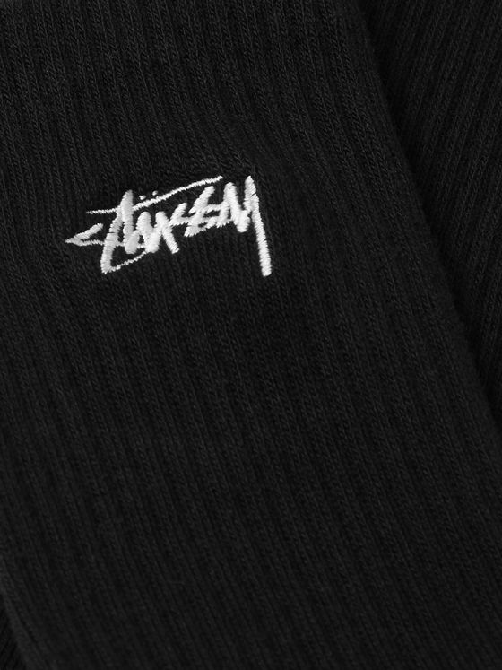 Stüssy Logo-Embroidered Ribbed Stretch Cotton-Blend Socks