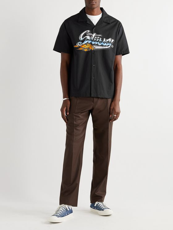 Stüssy Camp Collar Logo-Print Cotton-Blend Shirt