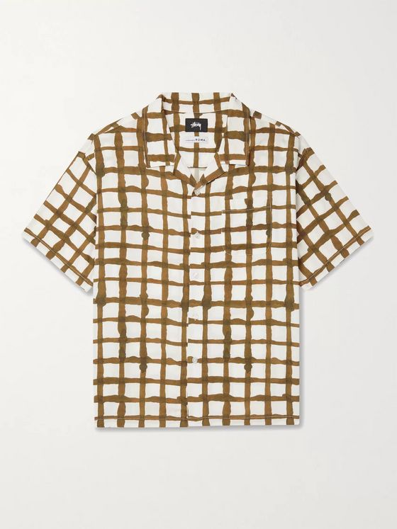 Stüssy Camp-Collar Checked Woven Shirt