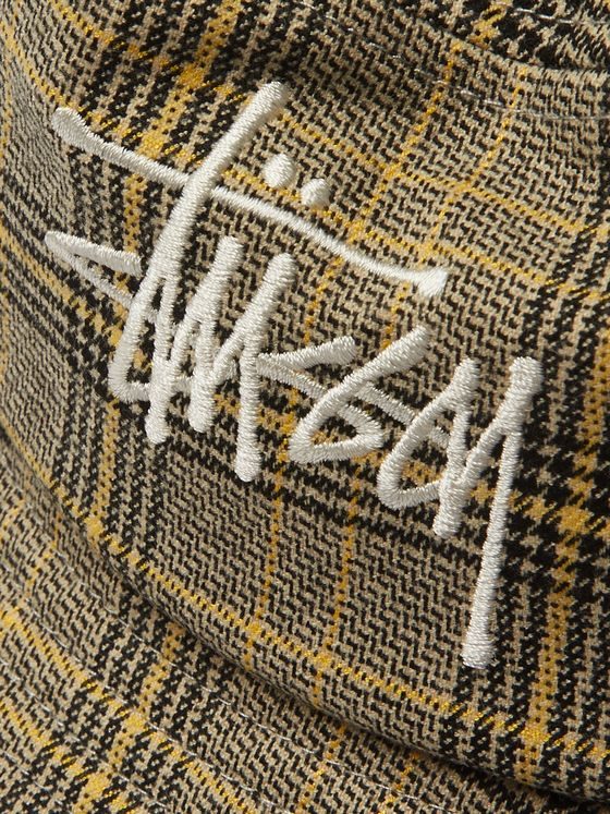 Stüssy Logo-Embroidered Checked Flannel Bucket Hat
