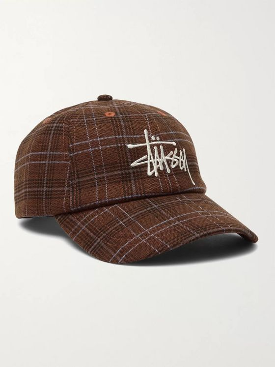 Stüssy Logo-Embroidered Checked Flannel Baseball Cap