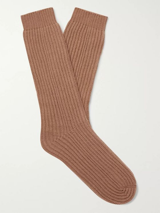 MR P. Ribbed Cashmere Socks