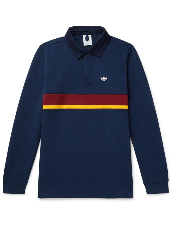 ADIDAS ORIGINALS Samstag Corduroy-Trimmed Striped Cotton-Blend Jersey Rugby Shirt