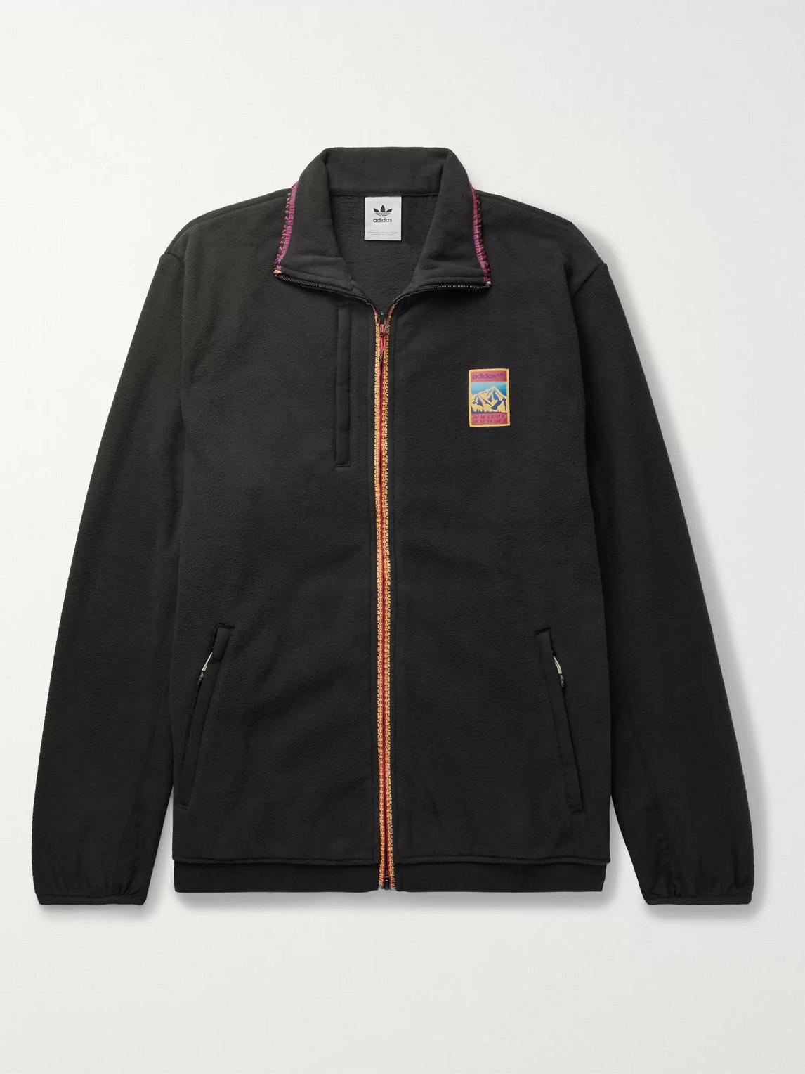 Adidas Originals ADIPLORE LOGO-APPLIQUÉD SHELL-TRIMMED FLEECE JACKET