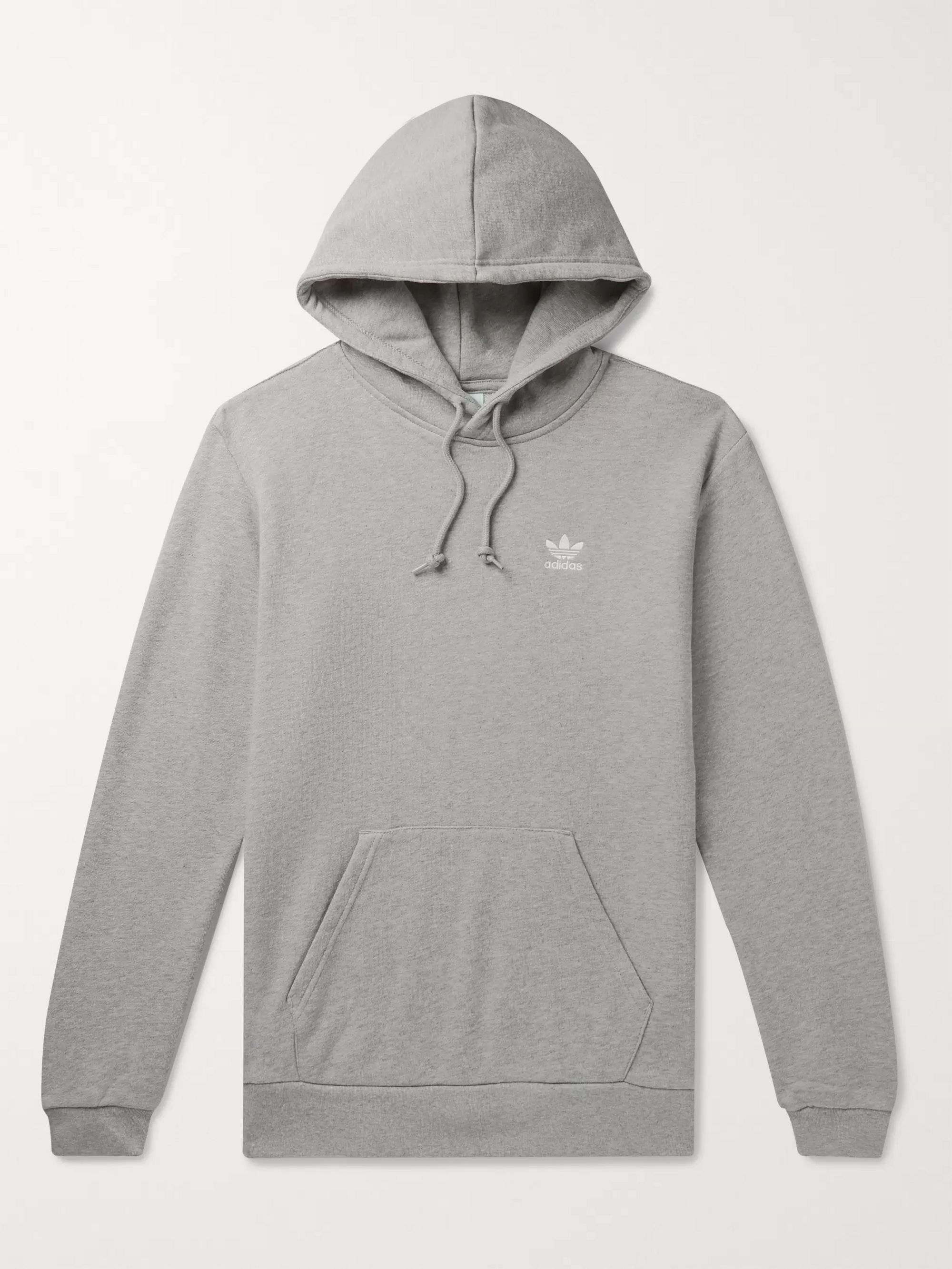 Gray Essential Logo-Embroidered Mélange Loopback Cotton-Jersey ...