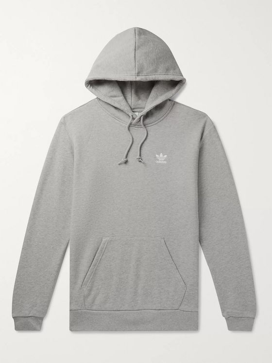 ADIDAS ORIGINALS Essential Logo-Embroidered Mélange Loopback Cotton-Jersey Hoodie
