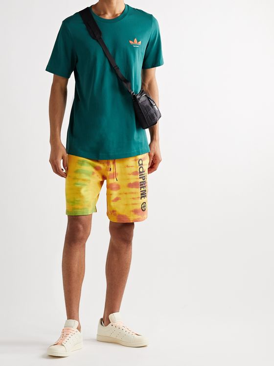 ADIDAS ORIGINALS Logo-Print Tie-Dyed Cotton-Jersey Shorts