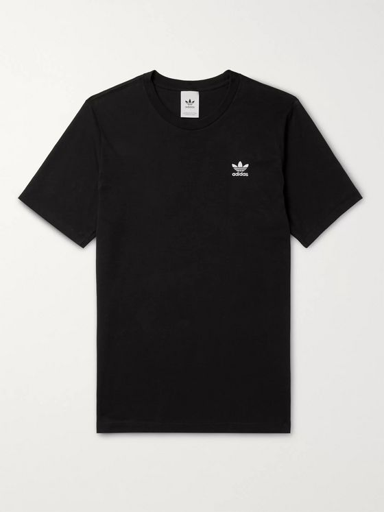 ADIDAS ORIGINALS Essential Logo-Embroidered Cotton-Jersey T-Shirt