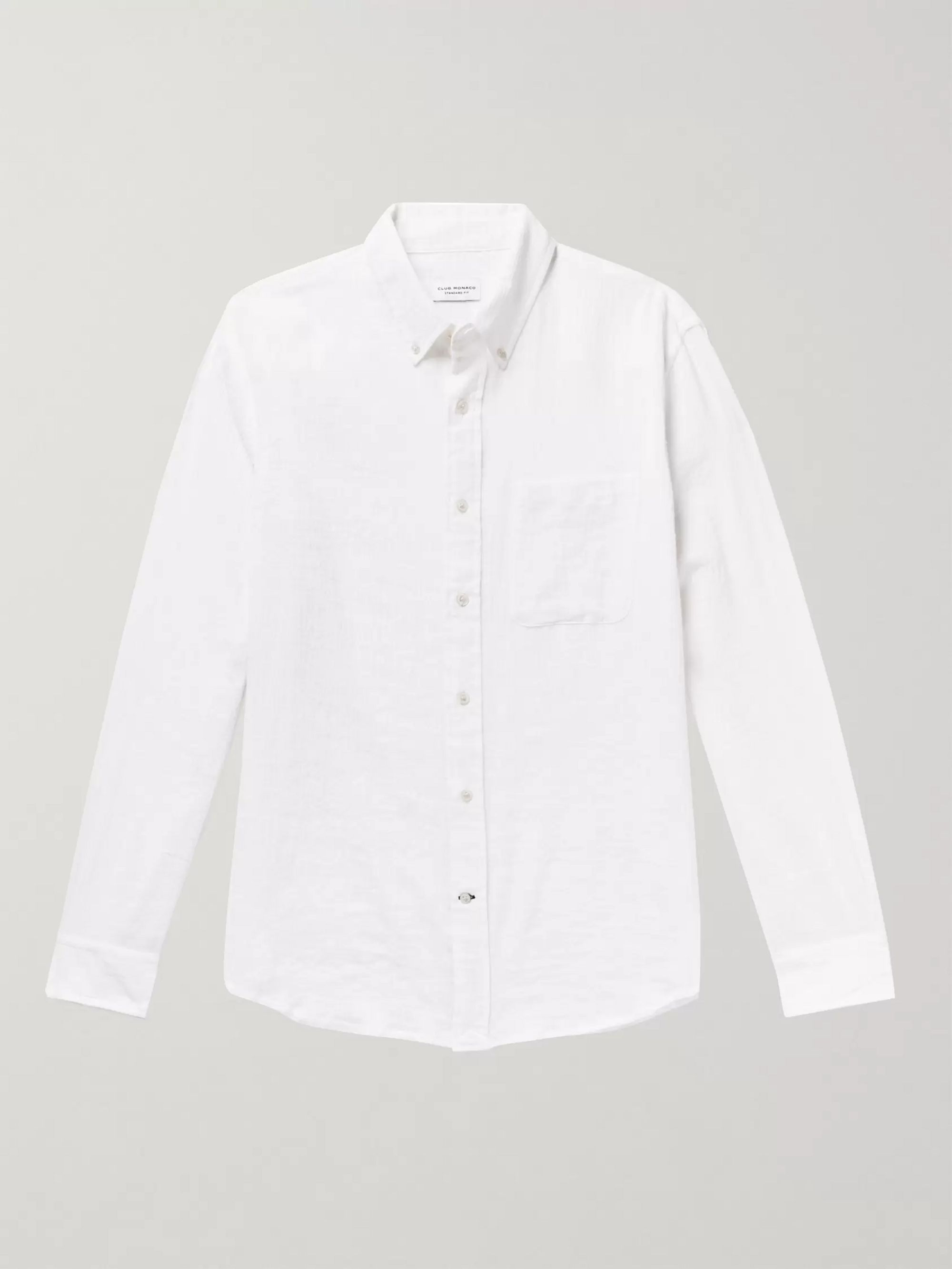 Club Monaco Button-Down Collar Cotton-Blend Gauze Shirt