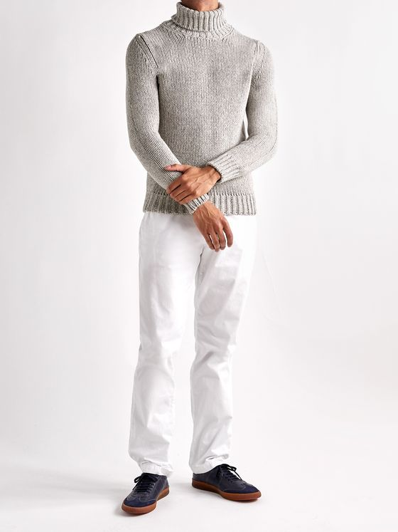 INCOTEX Slim-Fit Herringbone Mélange Wool and Yak-Blend Rollneck Sweater