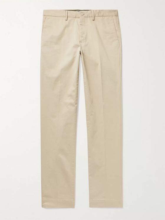 INCOTEX Slim-Fit Long-Length Stretch-Cotton Twill Trousers
