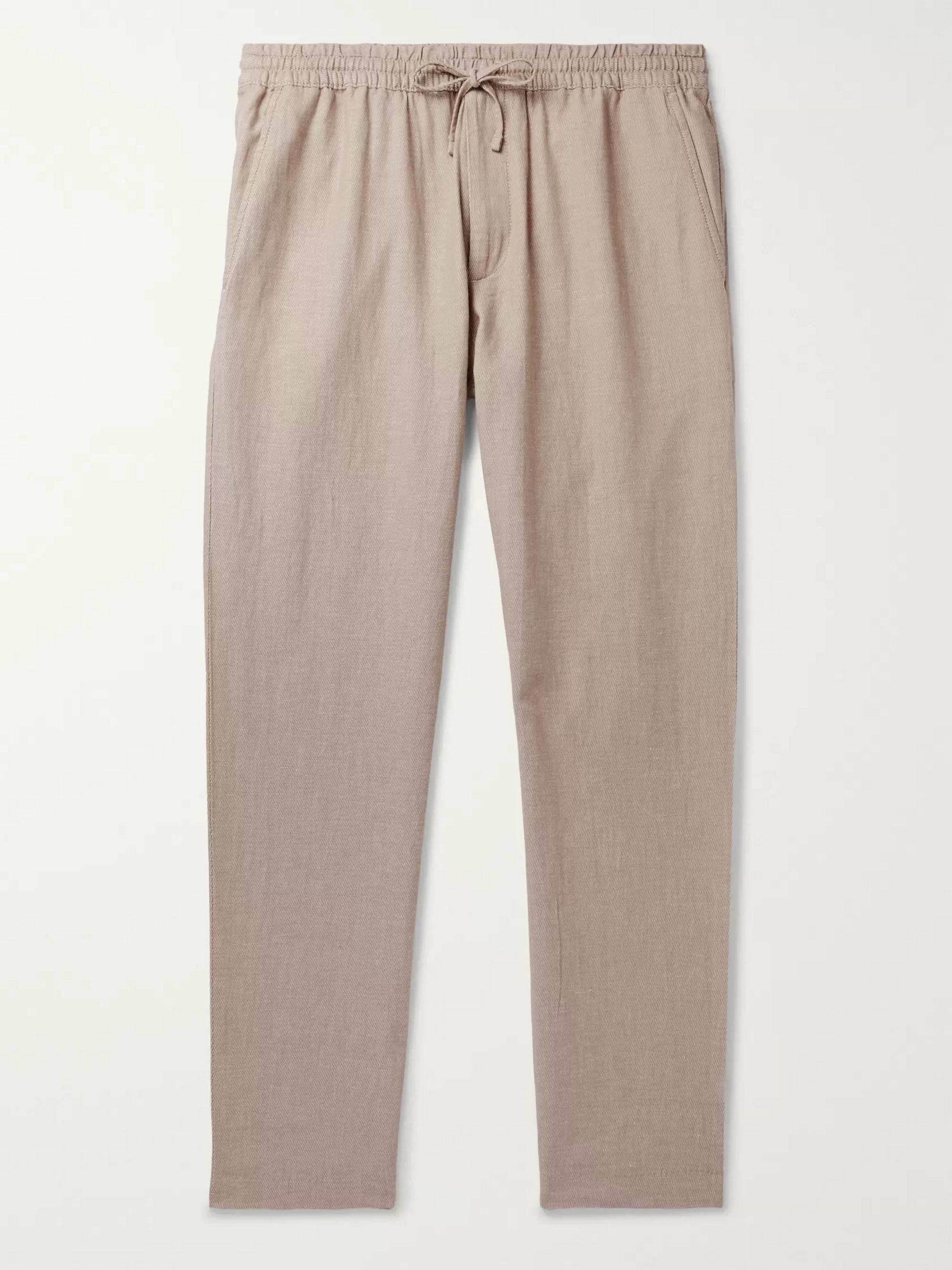 CLUB MONACO Tapered Stretch Cotton and Linen-Blend Drawstring Trousers