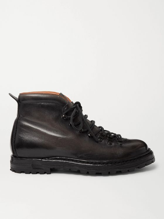 OFFICINE CREATIVE Artik Burnished-Leather Lace-Up Boots