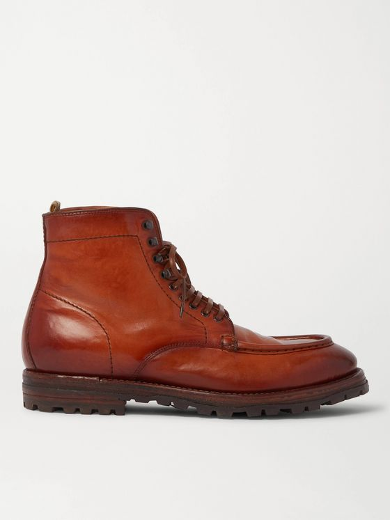 OFFICINE CREATIVE Vail Burnished-Leather Lace-Up Boots