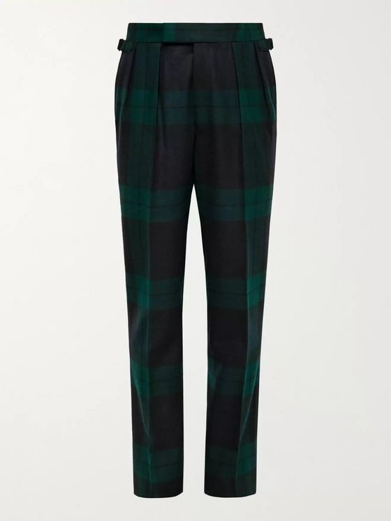 Aimé Leon Dore + Martin Greenfield Slim-Fit Pleated Checked Wool Suit Trousers
