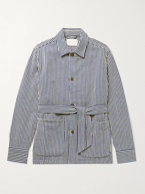 Aimé Leon Dore Belted Striped Cotton-Jacquard Jacket