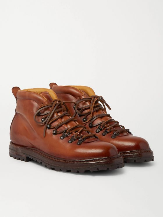 OFFICINE CREATIVE Artik Shearling-Lined Burnished-Leather Lace-Up Boots