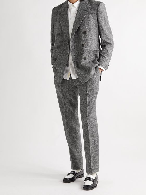 Aimé Leon Dore + Martin Greenfield Double-Breasted Herringbone Wool Suit Jacket