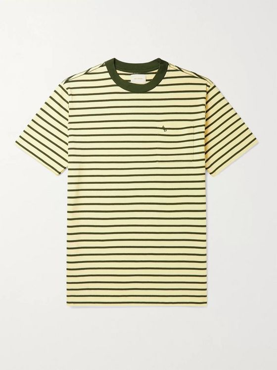 Aimé Leon Dore Logo-Embroidered Striped Cotton-Jersey T-Shirt
