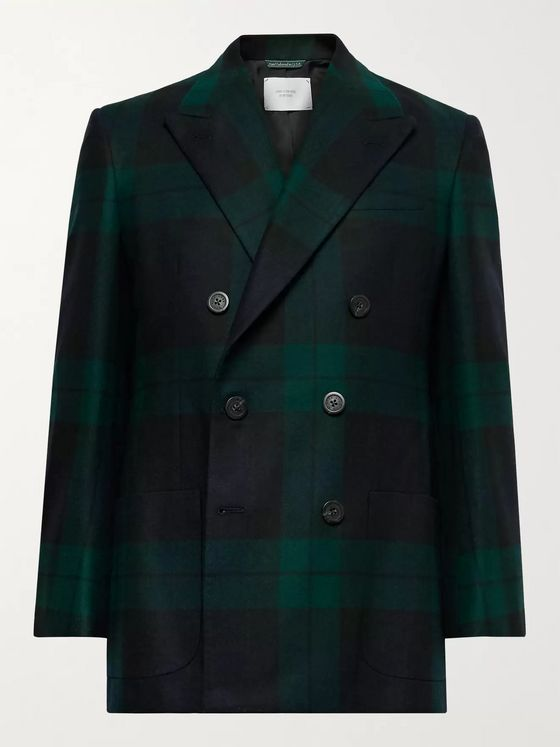Aimé Leon Dore + Martin Greenfield Double-Breasted Checked Wool Suit Jacket