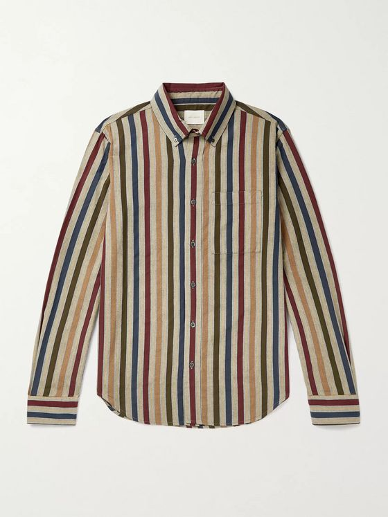 Aimé Leon Dore Button-Down Collar Striped Cotton-Oxford Shirt