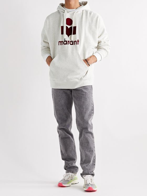 ISABEL MARANT Miley Logo-Flocked Mélange Fleece-Back Cotton-Blend Jersey Hoodie