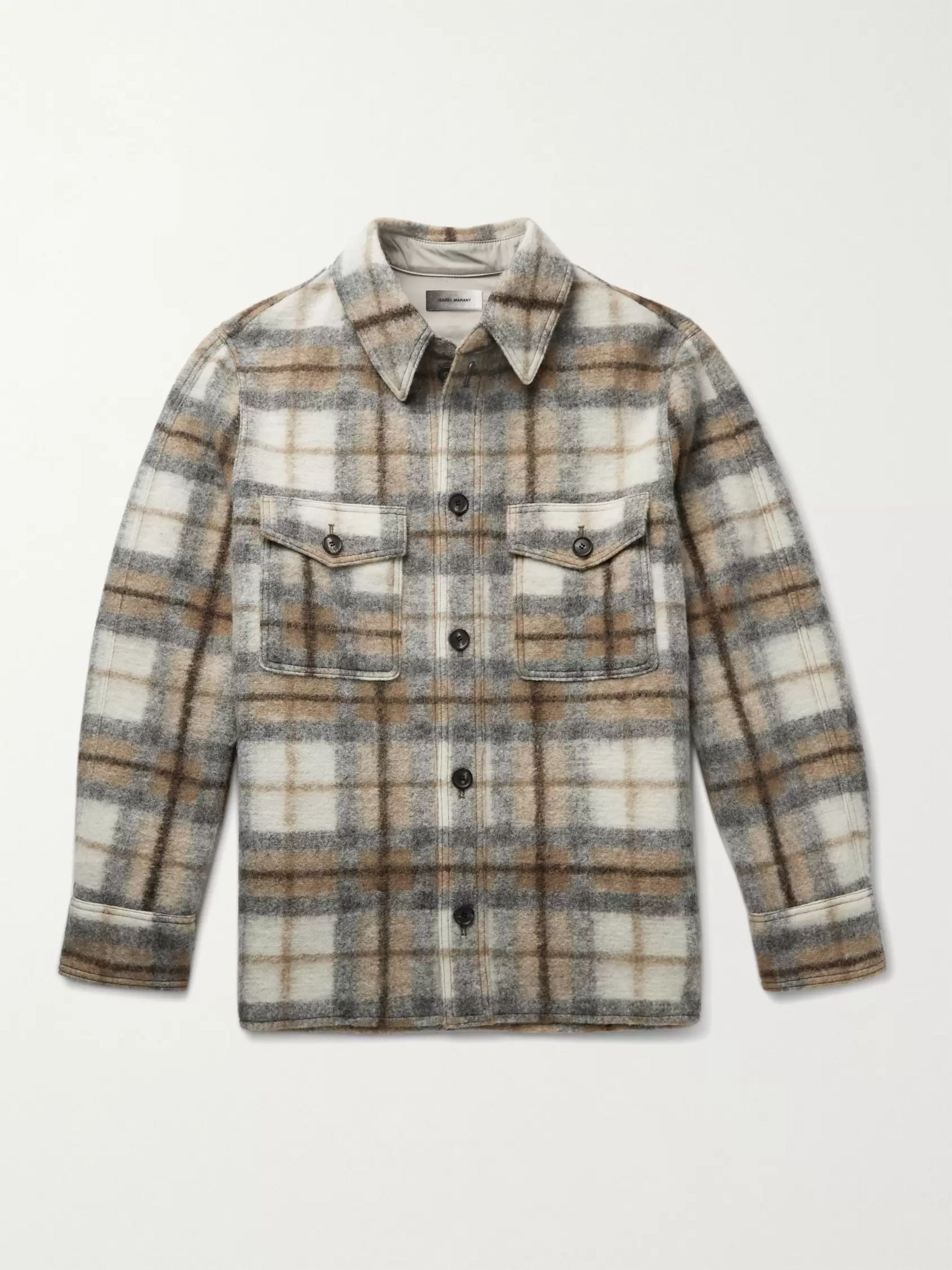 Isabel Marant Gervon Checked Wool-Blend Overshirt