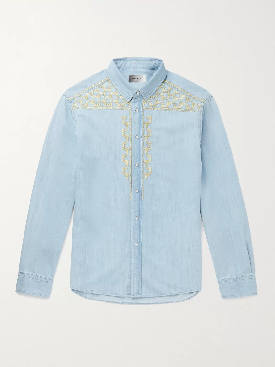 Isabel Marant RUIZ EMBROIDERED COTTON-CHAMBRAY SHIRT