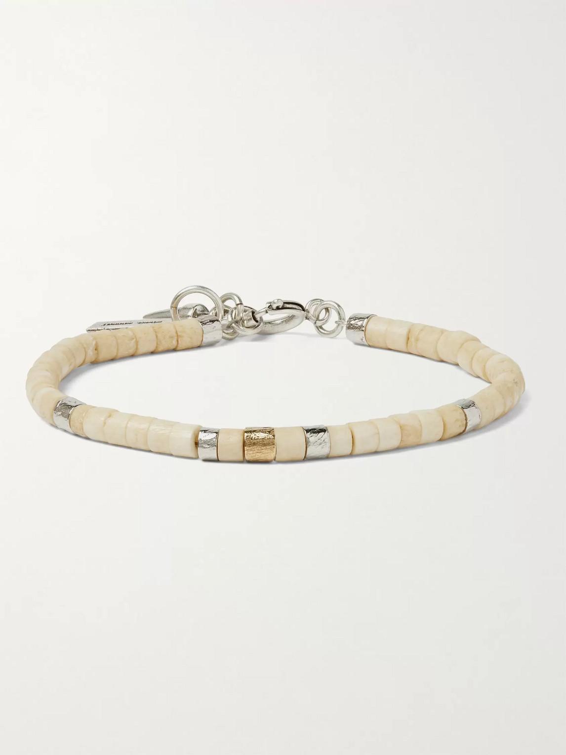 Isabel Marant Silver-tone And Bone Beaded Bracelet In Neutrals